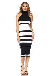 Aria Striped Midi Dress- Black & White
