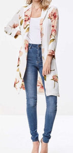 Ivory Floral Duster/Blazer