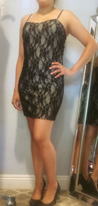 Black Lace Overlay Mini Dress