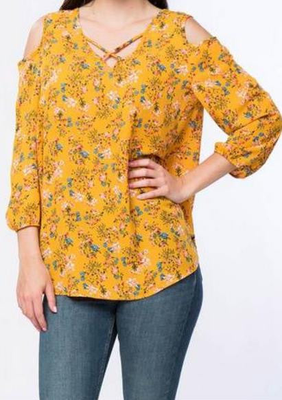 Mustard  Floral Print Blouse