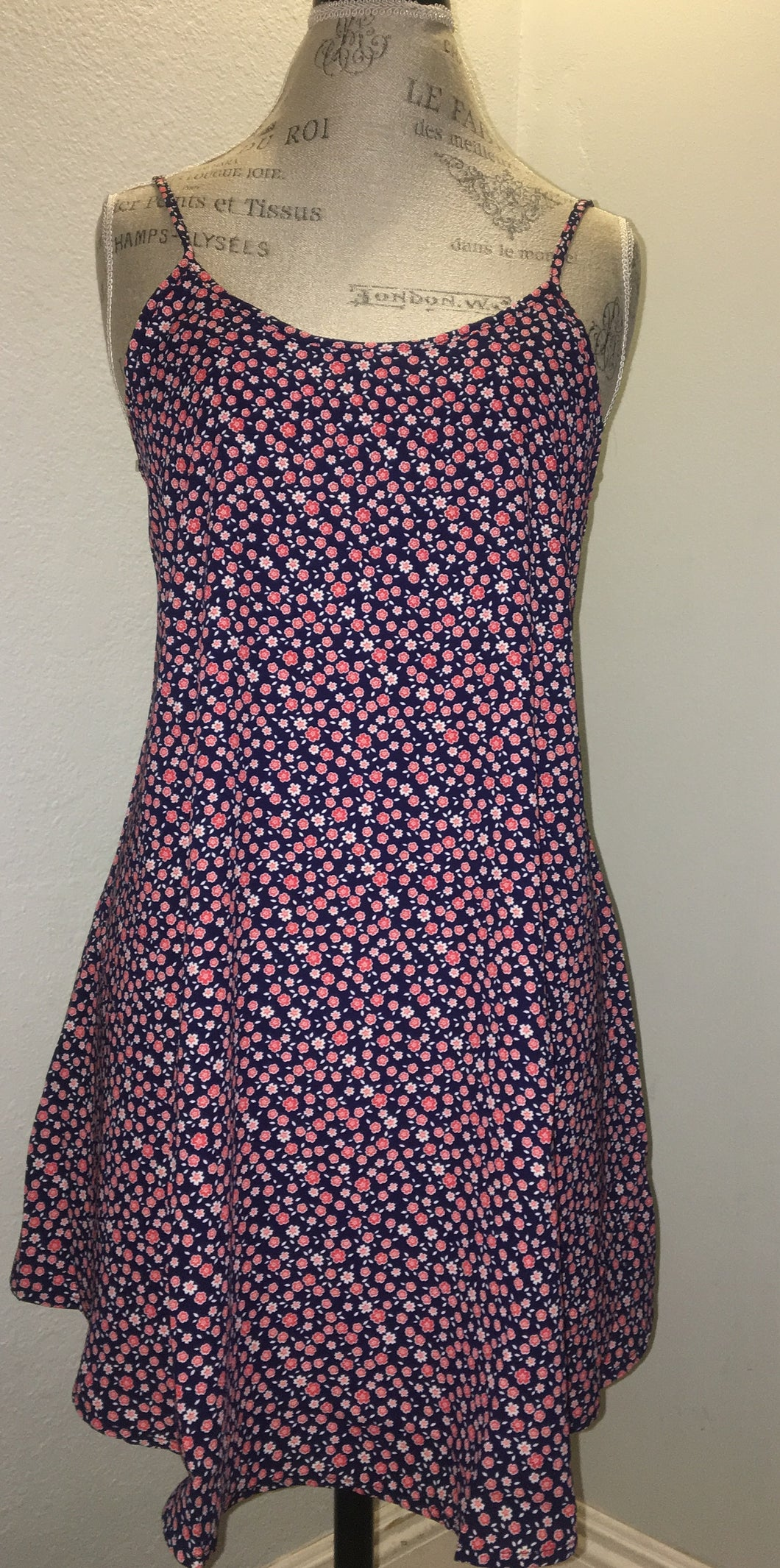 Navy Blue Floral Open Back Dress