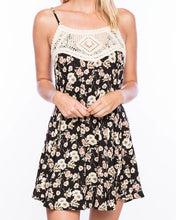 Black Floral Dress with Crochet Inset
