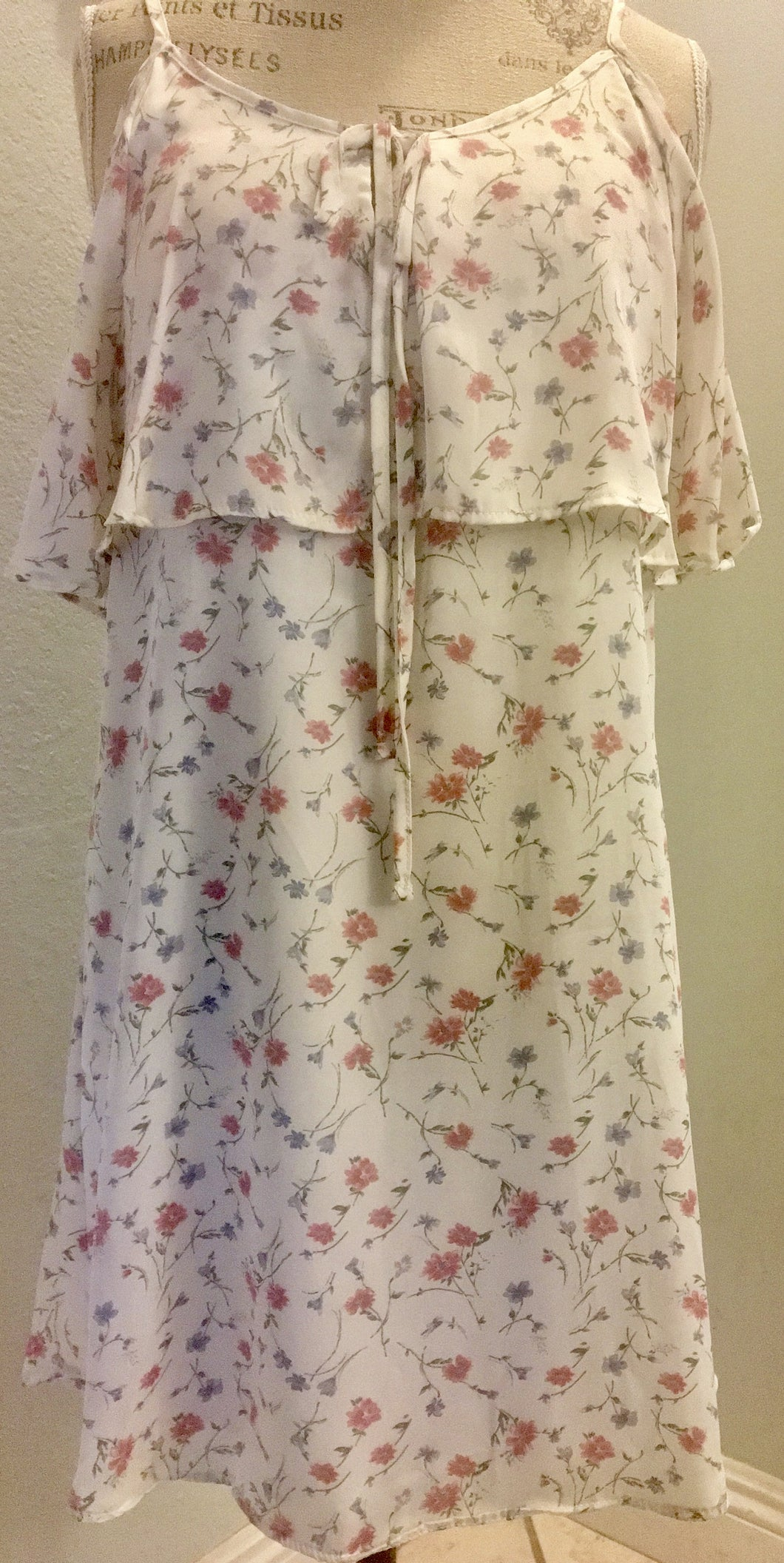White Cold Shoulder Floral Dress