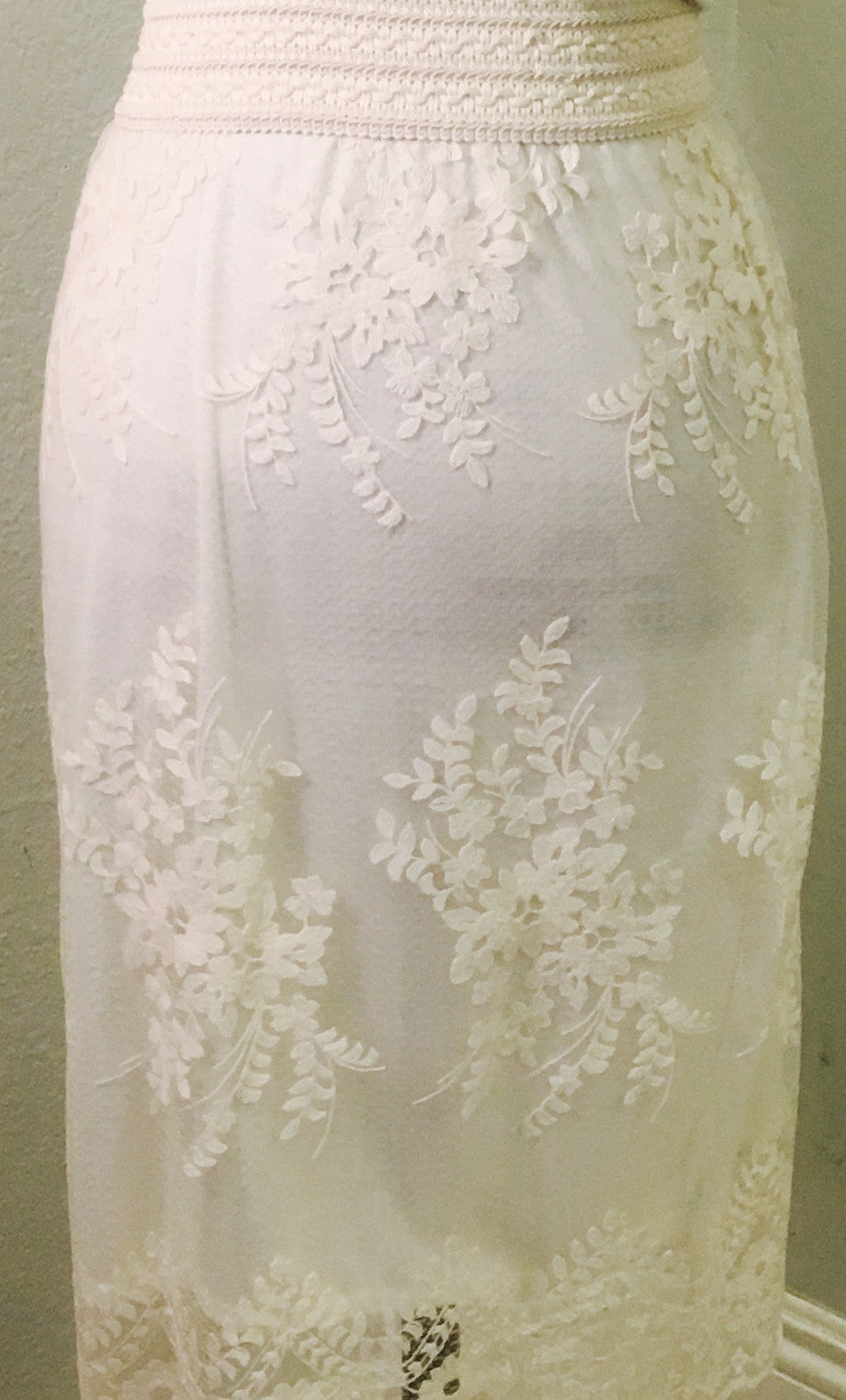 Ivory Lace Skirt with Embroidered Waist