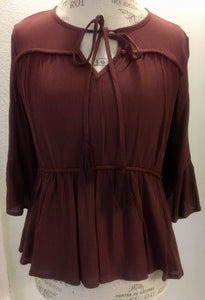 Wine Key Hole Blouse