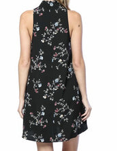 Lina Floral Print Mock Neck Dress- Ruby Red