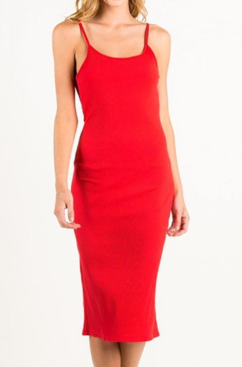 Bright Red - Ribbed Cami Midi Dress