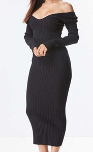 Mia Sweater Dress- Black