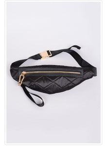 Quilted Fanny Pack- Black