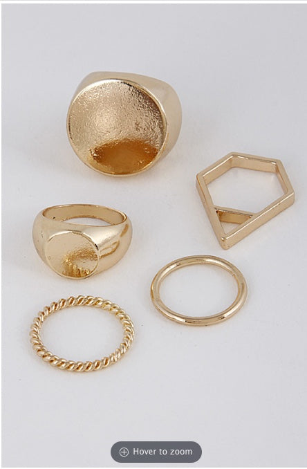 Lady Metallic Ring Set- Gold