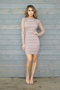 Mya Long Sleeve Dress- Nude
