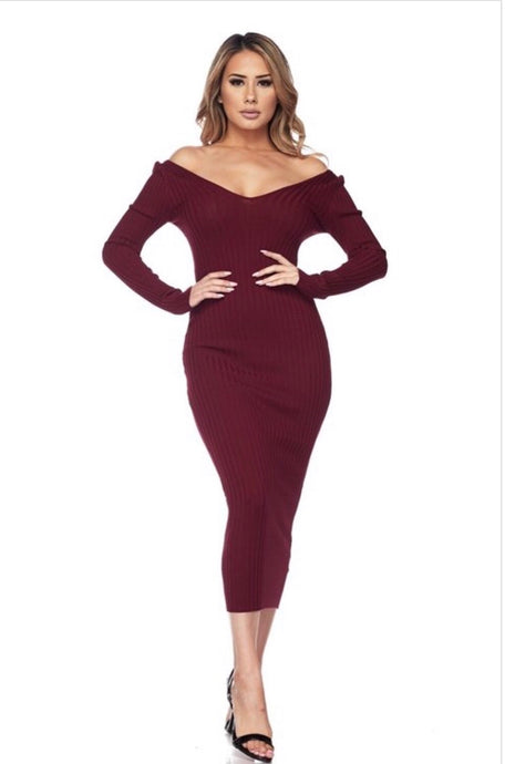 Mia Sweater Dress- Plum