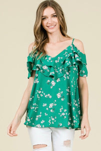 Floral Print Blouse- Green