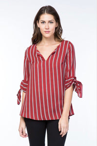 Striped Blouse - Dark Red