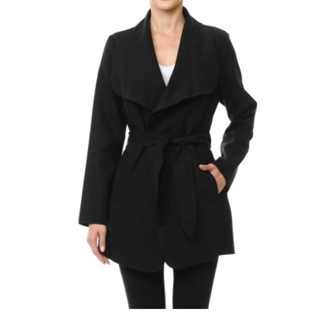 Stylish Wrap Coat - Black