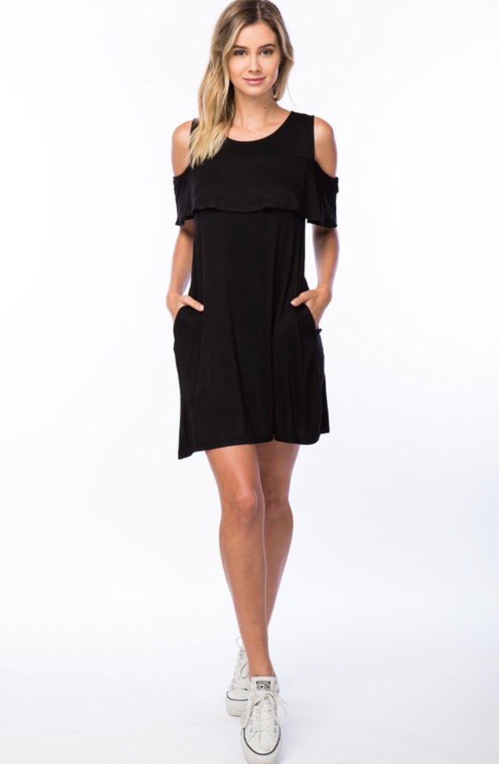 Black Ruffle Cold Shoulder Dress