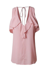 Light Pink Cold Shoulder Ruffle Blouse