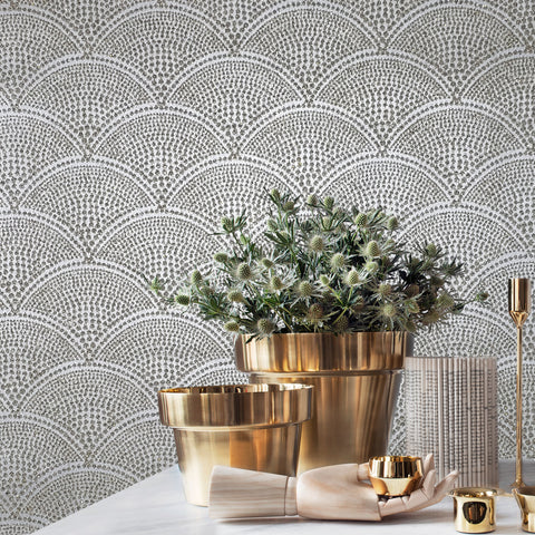 art deco wallpaper mica vermiculite wallcoverings natural glitter textured gray silver gold