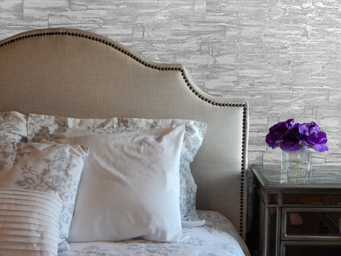 Silver Brick Metallic Wallpaper