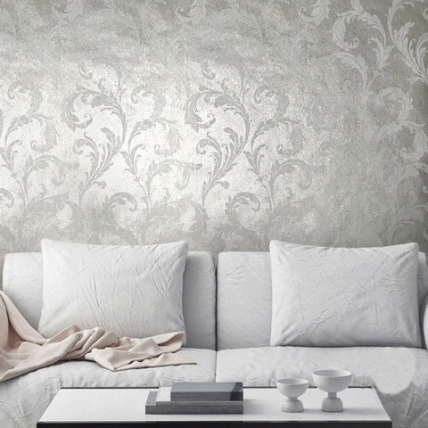 Silver metallic wallpaper barocco