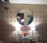 WM8423062 Wallpaper Beige Rose Gold Textured Geometric Trellis