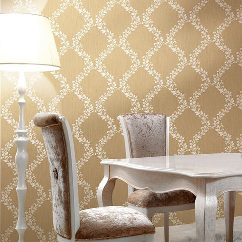 305031 Gold Metallic Floral Diamond Wallpaper