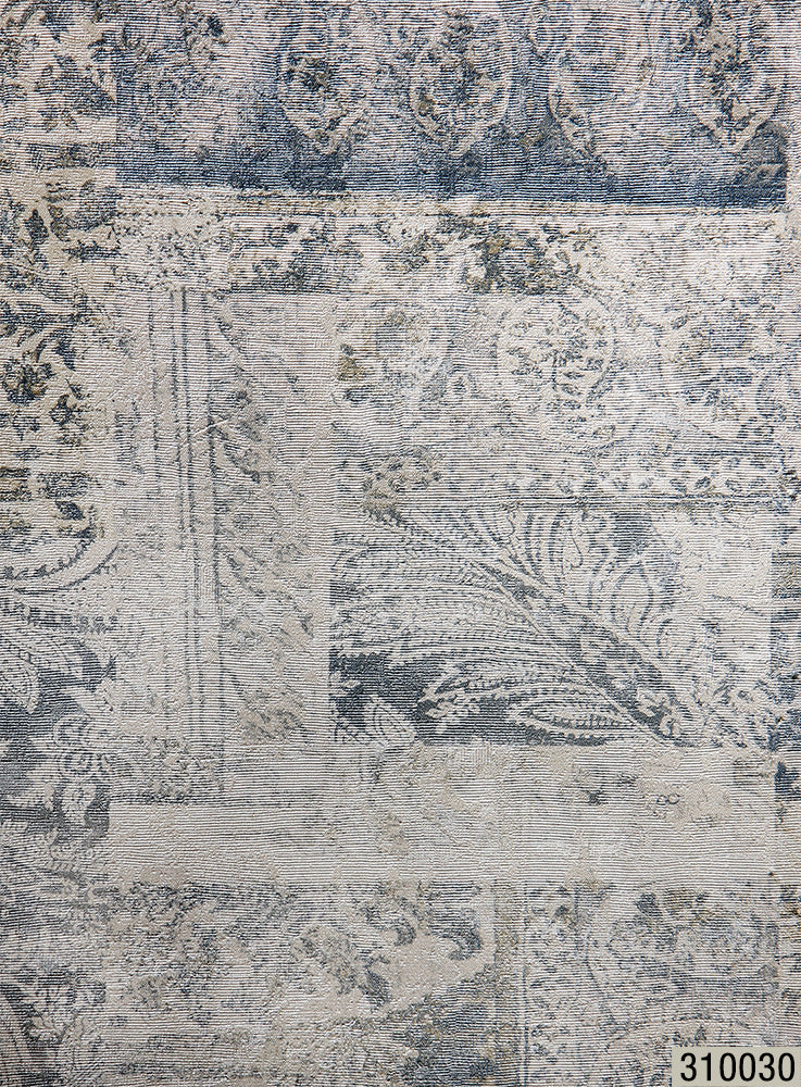 310030 Wallpaper Rustic White Blue Faux Vintage Rug Carpet Textured Mo Wallcoveringsmart