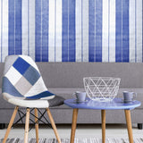 76054 Royal Blue Silver Metallic Striped Wallpaper