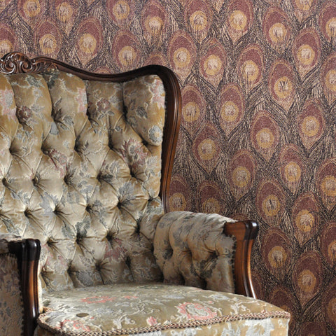 255021 Peacock Brown Gold Glitter Wallpaper