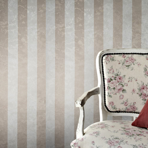 300067 Striped Gold Cream Textured Wallpaper