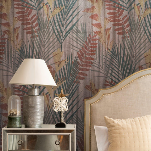 255001 Copper Metallic Textured Floral Tropical leaves Portofino wallpaper