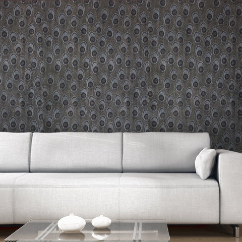 255022 Peacock Gray Gold Glitter Wallpaper
