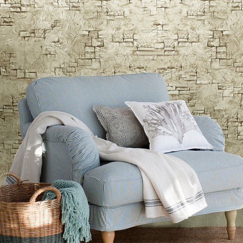 C895-01 Beige Brick Stone Concrete Wallpaper