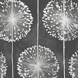 WM0421901 Black Metallic Silver Grey Floral Dandelion Flower Wallpaper