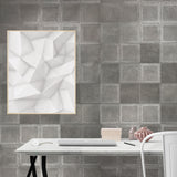 300036 Portofino Fur Stitched Squares Silver Metallic Wallpaper