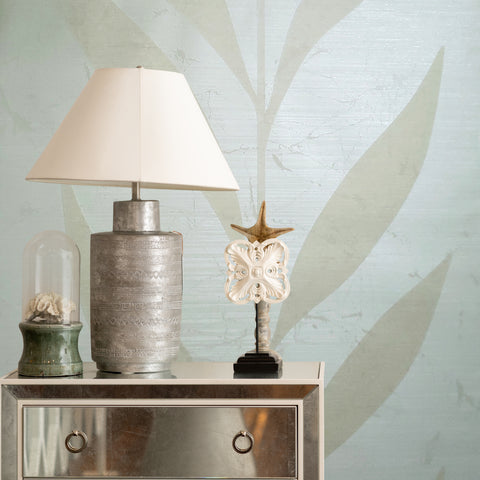 165013 Portofino Wallpaper ivory cream Textured Flock plant leaves
