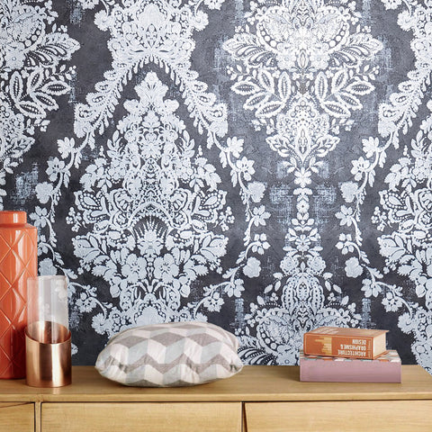 76007 Textured Wallpaper Black Silver Metallic rust vintage damask