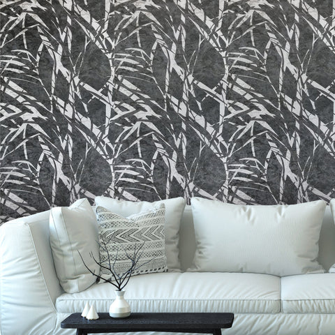 300007 Leaf Black Silver Modern Wallpaper