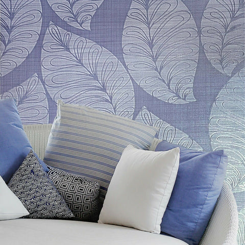 135005 Portofino Blue faux sisal grasscloth Textured Leaves 3D Wallpaper