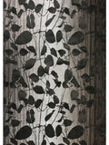 135056 Velvet Gray Flock Charcoal Black Leaf Flocked Wallpaper - wallcoveringsmart