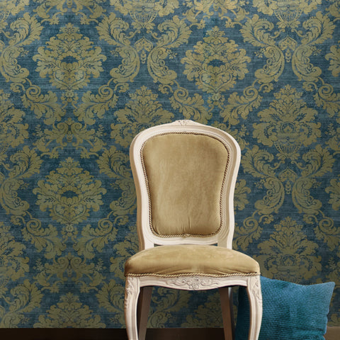 75902 Blue Gold Damask Metallic Wallpaper