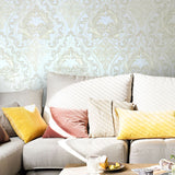 8564-12 White Gold Pearl Victorian Wallpaper