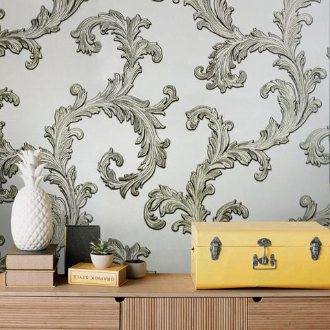 76016 Victorian Textured Beige Damask Wallpaper