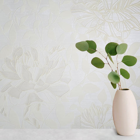 165002 White Flock Floral Wallpaper