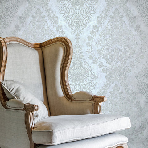 76003 Off White Satin Floral Diamond Wallpaper