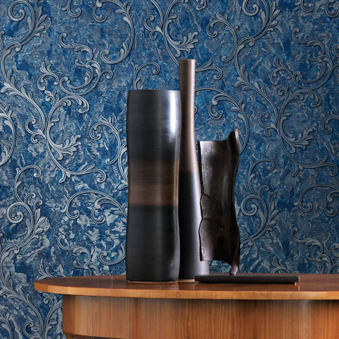 L903-03 Blue Silver Metallic Victorian Wallpaper