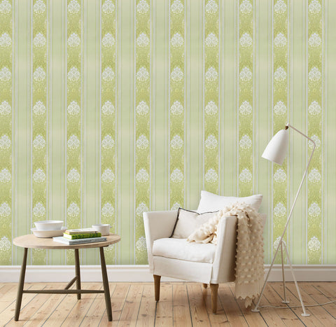 6514-04 Olive Green Gold Stripe Damask Wallpaper