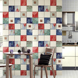 5581-12 Tile Blue Red White Plaid Wallpaper