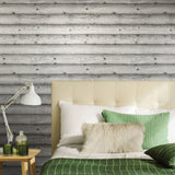 V322-10 Grey White Distressed Wood Board Wallpaper