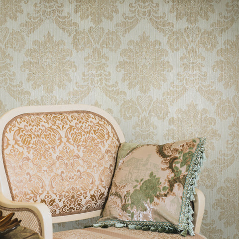 75703 Damask Textured Cream Brulee Wallpaper